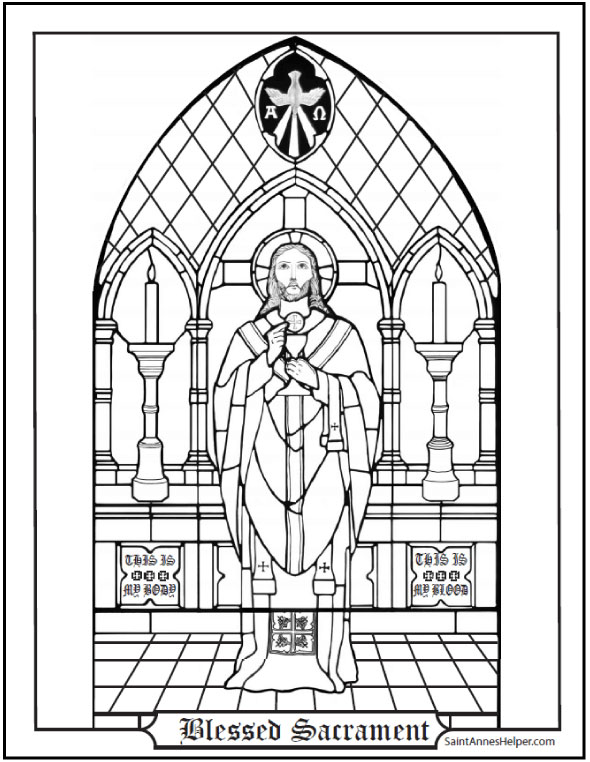 The Blessed Sacrament colouring page
